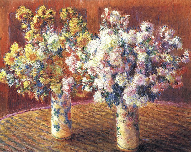 Two Vases with Chrysanthems, Claude Oscar Monet