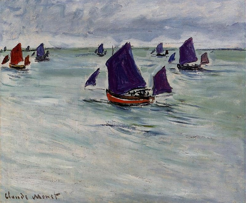 Fishing Boats off Pourville, Claude Oscar Monet
