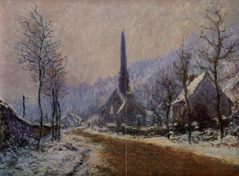 Church at Jeufosse, Snowy Weather, Claude Oscar Monet