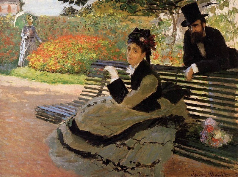 Camille Monet on a Garden Bench, Claude Oscar Monet