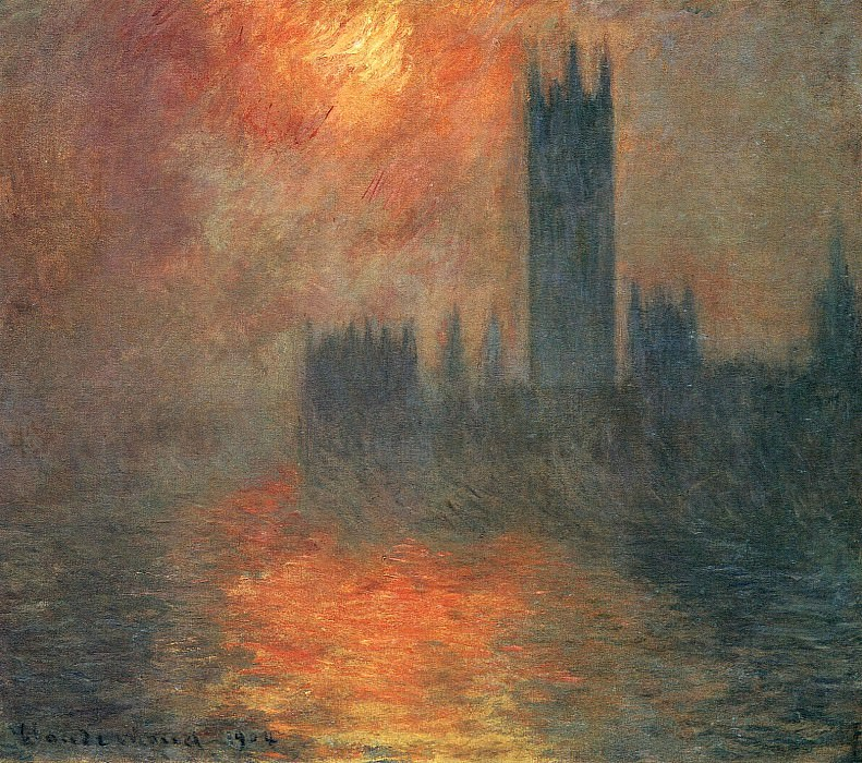 Houses of Parliament, Sunset, Claude Oscar Monet