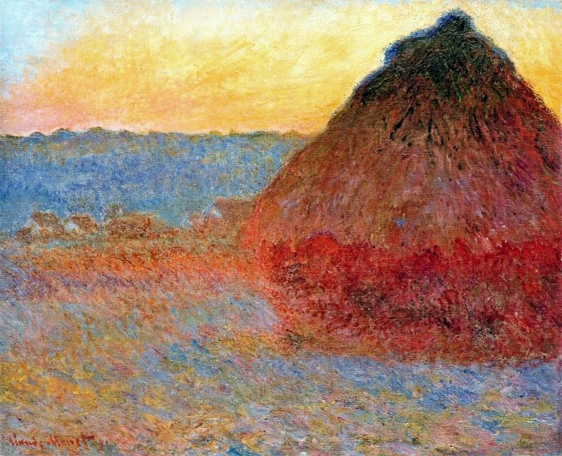 Grainstack, Impression in Pinks and Blues, Claude Oscar Monet