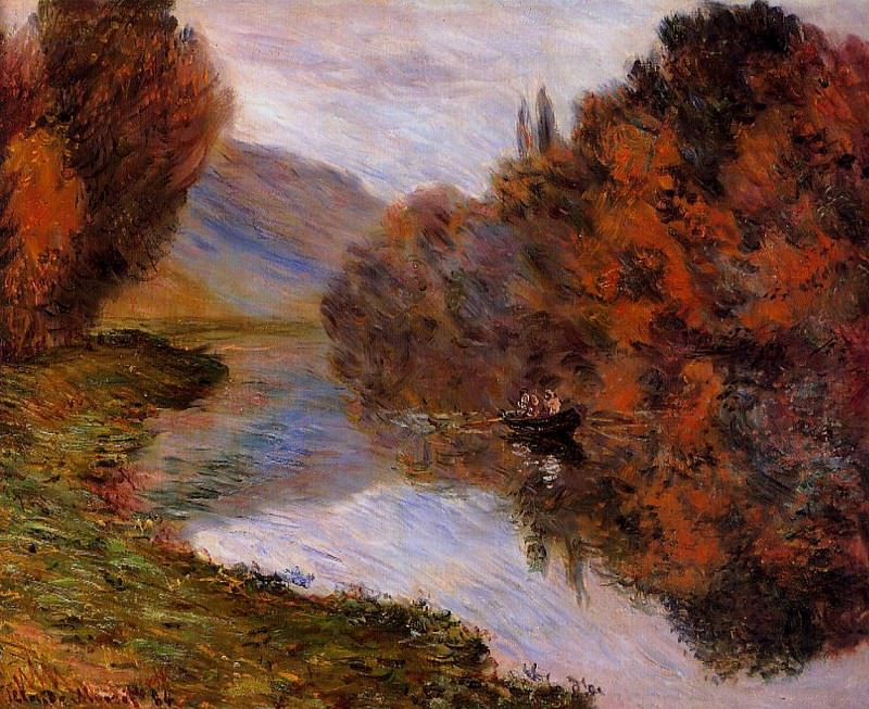 Rowboat on the Seine at Jeufosse, Claude Oscar Monet