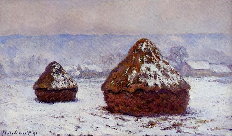 Grainstacks, Snow Effect, Claude Oscar Monet