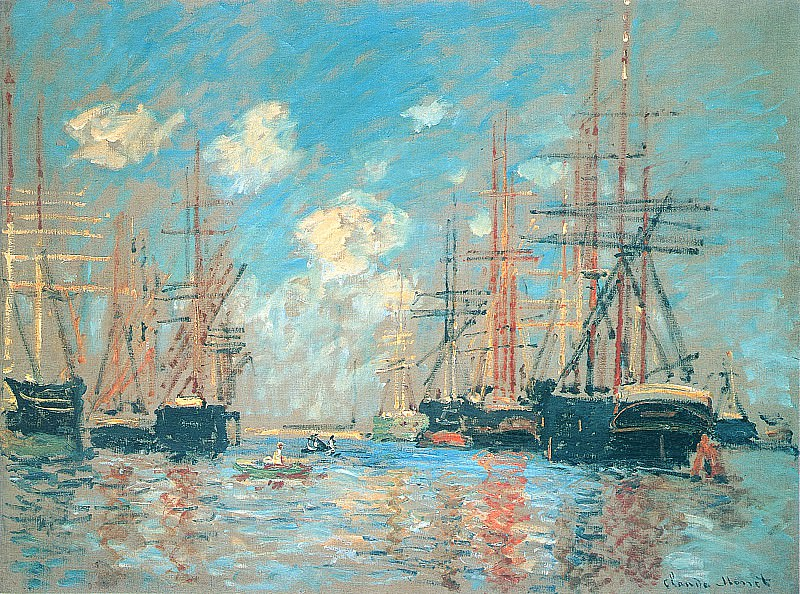 The Sea, Port in Amsterdam, Claude Oscar Monet