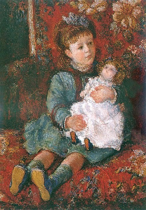 Portrait of Germaine Hoschede with a Doll, Claude Oscar Monet