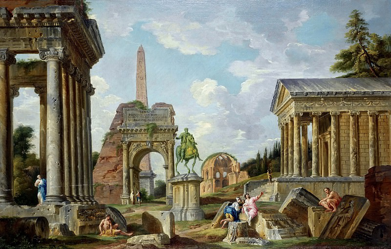 An architectural capriccio with the Temple of Saturn, the Arch of Titus, the Temple of Minerva Medica and the Temple of Fortuna Virilis, Giovanni Paolo Panini