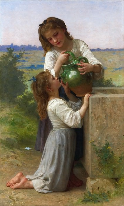 AT THE FOUNTAIN, Adolphe William Bouguereau