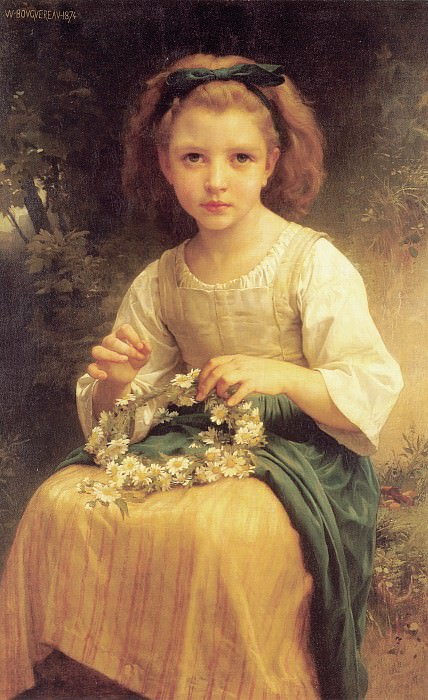 Child braiding a crown, Adolphe William Bouguereau