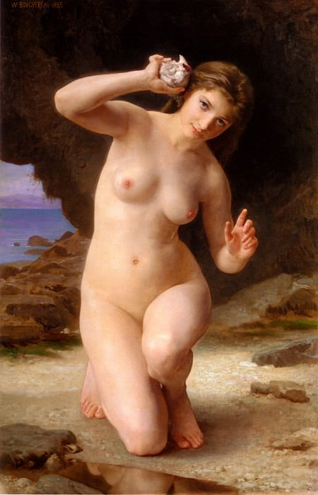Woman with Seashell, Adolphe William Bouguereau