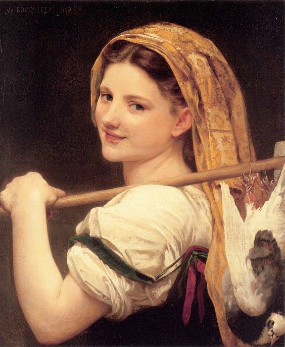 Returned from the market, Adolphe William Bouguereau