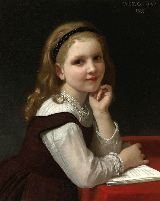 The young schoolgirl, Adolphe William Bouguereau