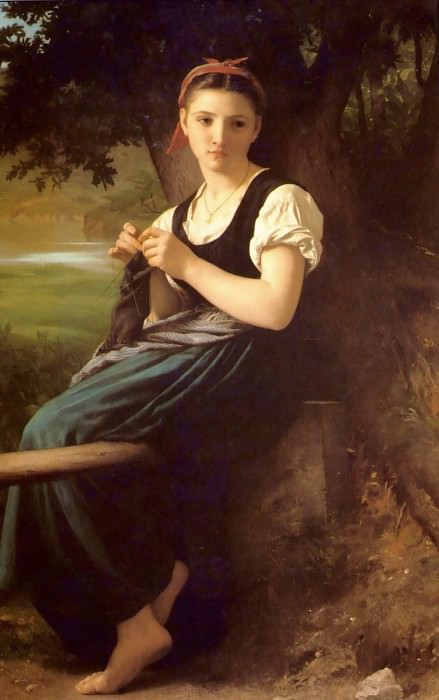 The Knitting Girl, Adolphe William Bouguereau