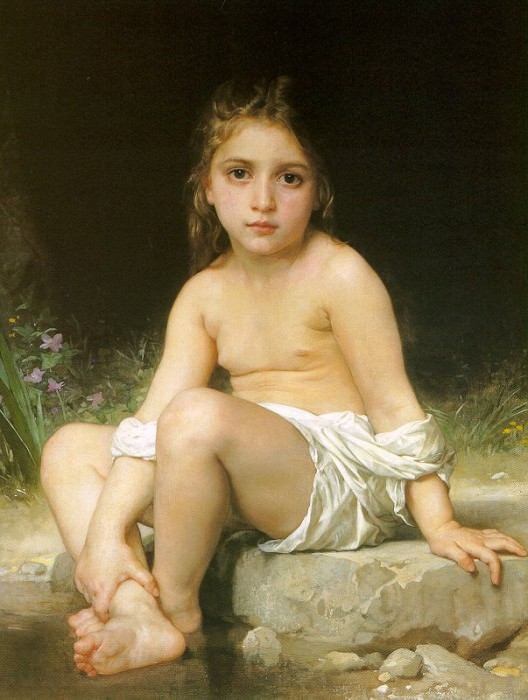 Child at Bath, Adolphe William Bouguereau