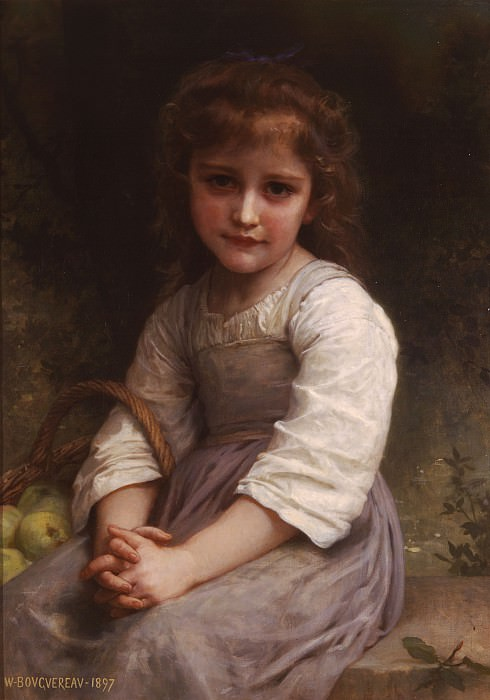 Little Girl with a Basket of Apples, Adolphe William Bouguereau