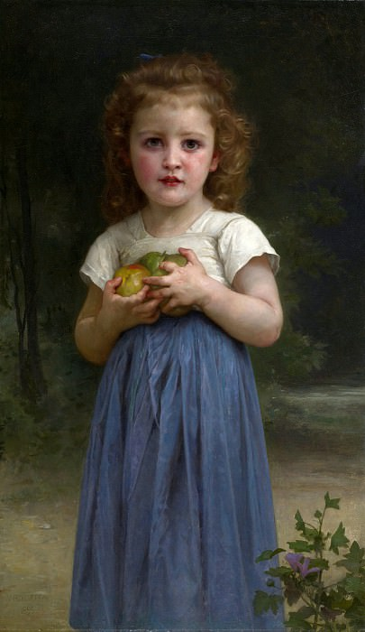 Little girl holding apples in hands, Adolphe William Bouguereau