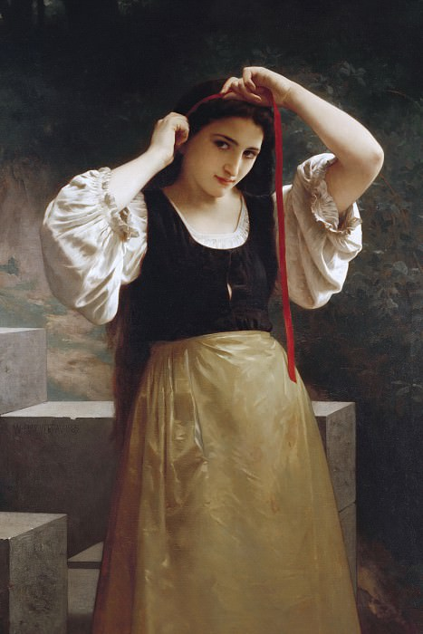 The red ribbon, Adolphe William Bouguereau