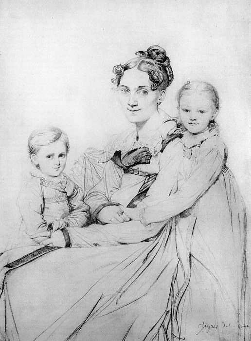 Madame Johann Gotthard Reinhold born Sophie Amalie Dorothea Wilhelmine Ritter and her two sons, Jean Auguste Dominique Ingres