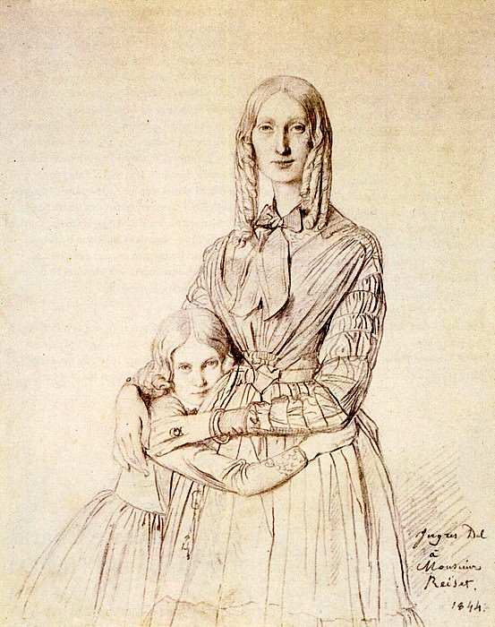Madame Frederic Reiset born Augustine Modeste Hortense Reiset and her daughter Therese, Jean Auguste Dominique Ingres