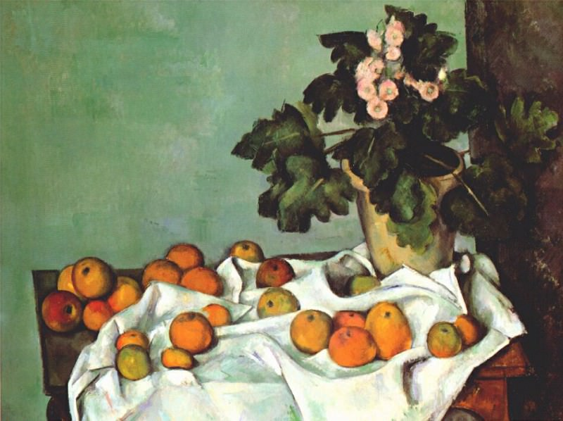 still life- apples and pot of primroses early-1890s, Paul Cezanne