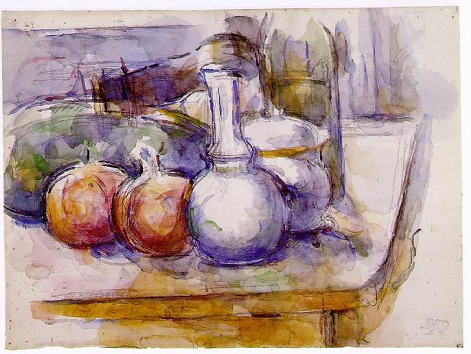 Still Life with Carafe, Sugar Bowl, Bottle, Pomegranates, and Watermelon, Paul Cezanne