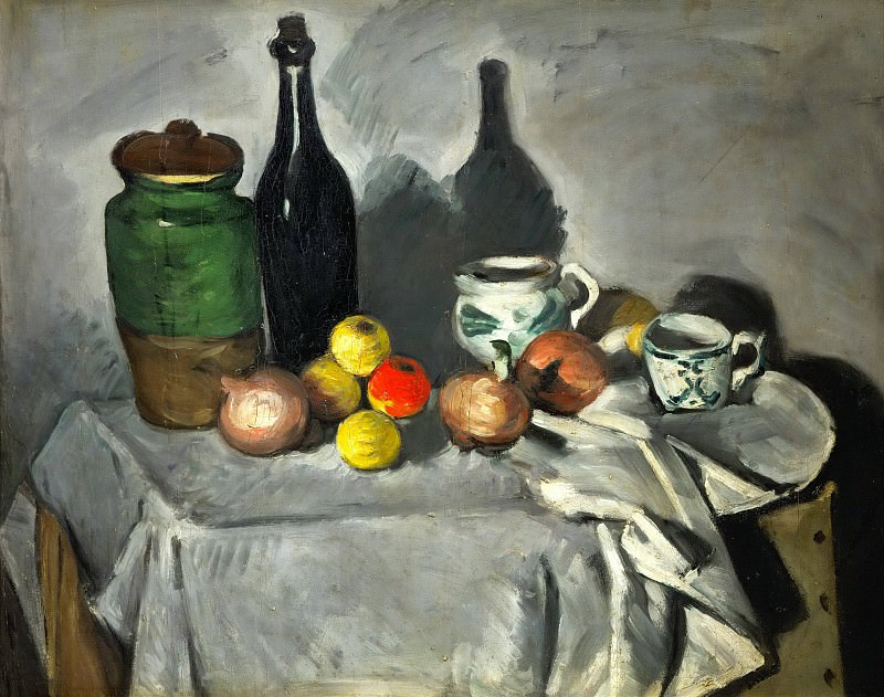 Pots, bottle, cup, and fruit, Paul Cezanne