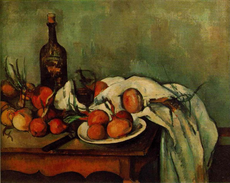 STILL LIFE WITH ONIONS AND BOTTLE,1890-95, LOUVRE, Paul Cezanne