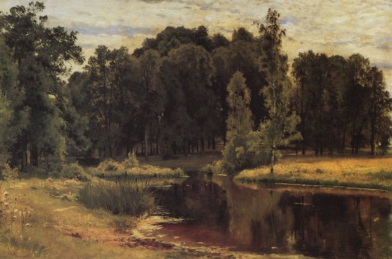 Pond in the old park. Study 1897 43, 3h67. 1, Ivan Ivanovich Shishkin