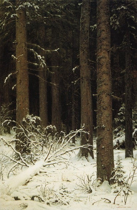 spruce forest in winter 1884 140h95, Ivan Ivanovich Shishkin