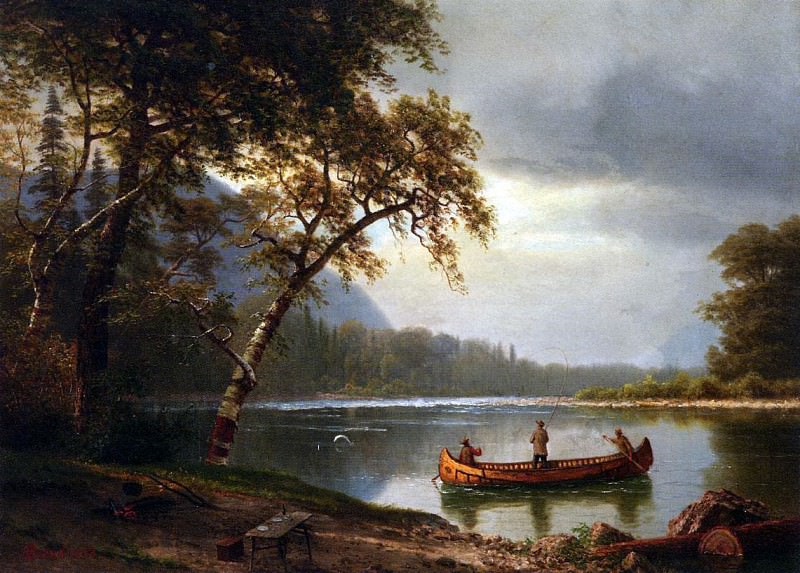 Bierstadt Albert Salmon Fishing on the Cascapediac River, Albert Bierstadt