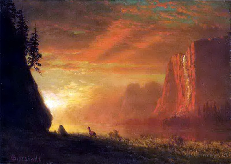 Bierstadt Albert Deer at Sunset, Albert Bierstadt