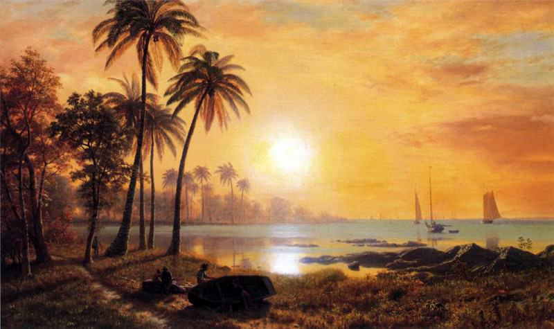 Bierstadt Albert Tropical Landscape with Fishing Boats in Bay, Albert Bierstadt