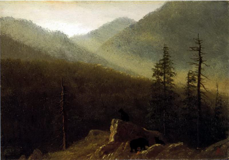 Bierstadt Albert Bears in the Wilderness, Albert Bierstadt
