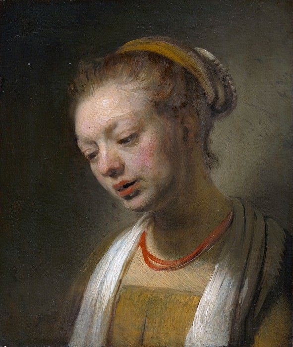Young Woman with a Red Necklace after, Rembrandt Harmenszoon Van Rijn