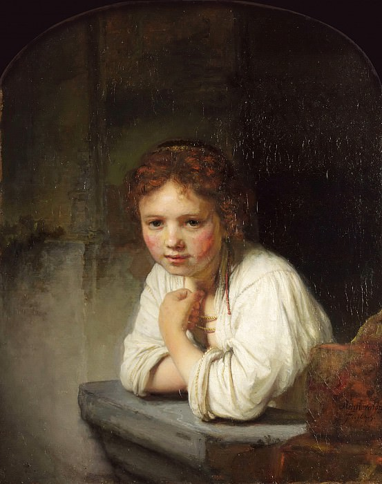 A Young Girl Leaning on a Window, Rembrandt Harmenszoon Van Rijn