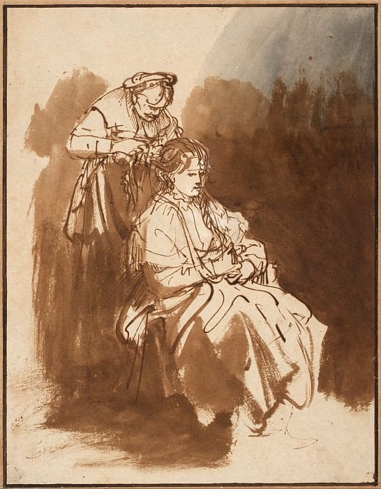 A Young Woman Having Her Hair Braided, Rembrandt Harmenszoon Van Rijn