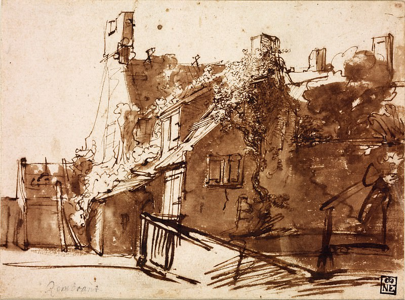 Dutch Farmhouse in Sunlight, Rembrandt Harmenszoon Van Rijn