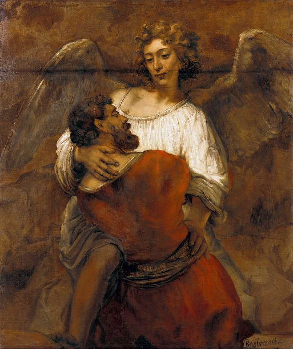 Wrestling with the Angel, Rembrandt Harmenszoon Van Rijn
