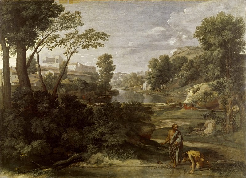 Landscape with Diogenes Renouncing His Bowl, Nicolas Poussin